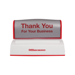 "Custom Office Depot® Brand Pre-Inked Stamp, 1-3/4"" x 3-3/4"" Impression"