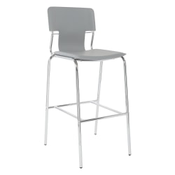 "Ave Six Dorado 44-1/2""H Barstools, Gray/Chrome, Set Of 2 Stools"