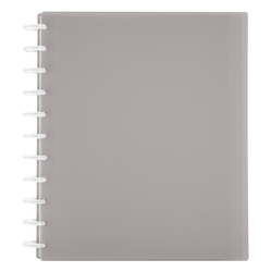 TUL® Discbound Student Notebook, Letter Size, 3-Subject, Narrow Ruled, 150 Pages (75 Sheets), Poly Cover, Gray