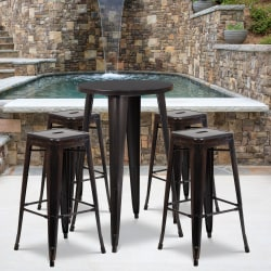 """Flash Furniture Commercial-Grade Round Metal Indoor/Outdoor Bar Table Set With 4 Square Backless Stools, 41""""H x 24""""W x 24""""D, Black/Antique Gold"""