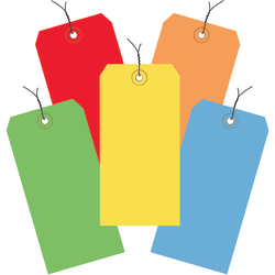 """Office Depot® Brand Shipping Tags, Prewired, 100% Recycled, 4 3/4"""" x 2 3/8"""", Assorted Colors, Case Of 1,000"""