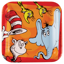 "Amscan Dr. Seuss 9"" Square Paper Plates, Multicolor, 8 Plates Per Pack, Set Of 3 Packs"