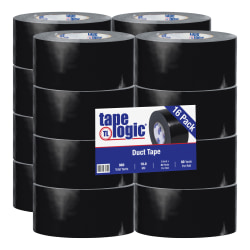 "Tape Logic® Color Duct Tape, 3"" Core, 3"" x 180', Black, Case Of 16"