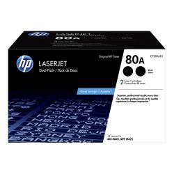 HP 80A Black Toner Cartridges (CF280AD1), Pack Of 2 Cartridges