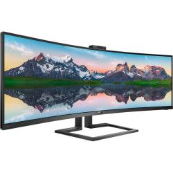 "Philips Brilliance P-line 499P9H - LED monitor - curved - 49"" (48.8"" viewable) - 5120 x 1440 Dual Quad HD @ 60 Hz - VA - 450 cd/m² - 3000:1 - DisplayHDR 400 - 5 ms - 2xHDMI, DisplayPort, USB-C - speakers - textured black"