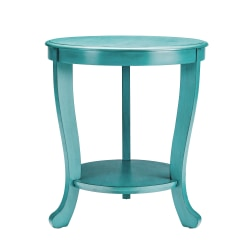 """Powell Heller Side Table With Shelf, 24"""" x 22"""", Teal"""