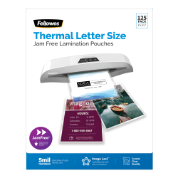 """Fellowes® ImageLast Premium UV Thermal Laminating Pouches, Letter Size, 5 Mil, 9"""" x 11-1/2"""", Clear, Pack of 125 Pouches"""