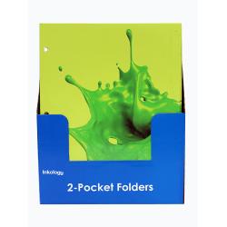 "Inkology 2-Pocket Portfolios, Nickelodeon Slime, 9-1/2"" x 11-3/4"", Assorted Designs, Pack Of 24 Folders"