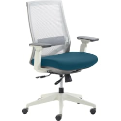 True Commercial Pescara Mesh/Fabric Mid-Back Executive Chair, Teal/Off-White