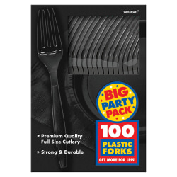 "Amscan Big Party Pack Midweight Plastic Forks, 7"", Jet Black, 100 Forks Per Box, Pack Of 2 Boxes"