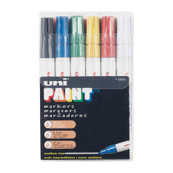 Uni-Paint® Markers, Medium Point, Assorted Colors, Pack Of 12