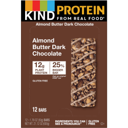 KIND Almond Butter Dark Chocolate Protein Bars, 1.76-Oz Bars, Box Of 12 Bars