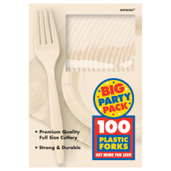"Amscan Big Party Pack Midweight Plastic Forks, 7"", Vanilla Crème, 100 Forks Per Box, Pack Of 2 Boxes"