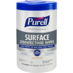 """Purell® Professional Surface Disinfecting Wipes, 7"""" x 8"""", 110 Wipes Per Canister"""