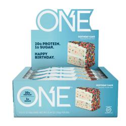 ONE Protein Bars, Birthday Cake, 2.12 Oz, Box Of 12 Bars