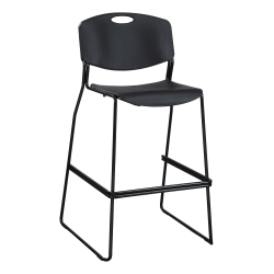 Lorell® Heavy-Duty Bistro Stack Chairs, Black, Set Of 2