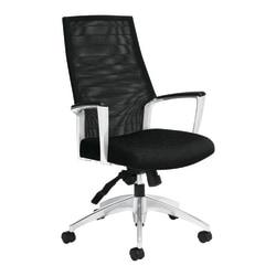 "Global® Accord High-Back Tilter Chair, 44""H x 25""W x 25""D, Black Coal/Silver"