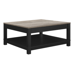 "Ameriwood™ Home Carver Coffee Table, Square, 17""H x 35""W x 35""D, Weathered Oak/Black"