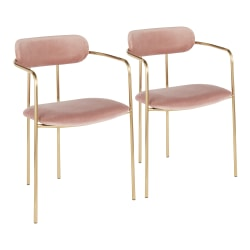 LumiSource Demi Accent/Dining Chairs, Pink/Gold, Set Of 2 Chairs