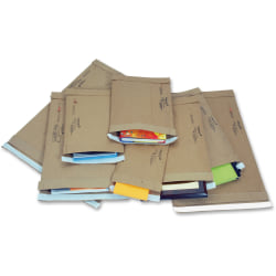 "Jiffy Mailer Jiffy Padded Mailers - Multipurpose - #7 - 14 1/4"" Width x 20"" Length - Flap - Kraft - 50 / Carton - Natural Kraft, Satin Gold"