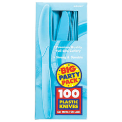 """Amscan Big Party Pack Midweight Plastic Knives, 7-1/2"""", Caribbean Blue, 100 Knives Per Box, Pack Of 2 Boxes"""