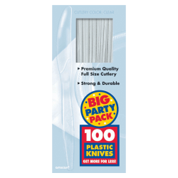 "Amscan Big Party Pack Midweight Plastic Knives, 7-1/2"", Clear, 100 Knives Per Box, Pack Of 2 Boxes"