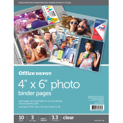 """Office Depot® Brand Photo Binder Pages, 4"""" x 6"""", Multi Direction, Clear, Pack Of 10"""