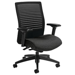"""Global® Loover Mid-Back Weight-Sensing Synchro Chair, 39""""H x 25 1/2""""W x 24""""D, Granite Rock/Black"""