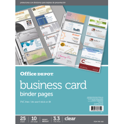 """Office Depot® Brand Business Card Binder Pages, 8-1/2"""" x 11"""", Clear, Pack Of 25"""