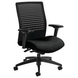 "Global® Loover Mid-Back Weight-Sensing Synchro Chair, 39""H x 25 1/2""W x 24""D, Black Coal/Black"
