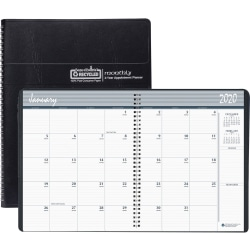 "House of Doolittle Doolittle 24-month Large Planner - Monthly, Daily - 2 Year - January 2020 till December 2021 - 1 Month Double Page Layout - 8 1/2"" x 11"" Sheet Size - 2.13"" x 1.88"" Block - Wire Bound - Simulated Leather - Black"