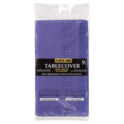 """Amscan Plastic Table Covers, 108"""" x 54"""", Purple, Pack Of 4 Table Covers"""
