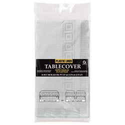 "Amscan Plastic Table Covers, 108"" x 54"", Silver, Pack Of 4 Table Covers"