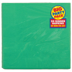 """Amscan 2-Ply Paper Dinner Napkins, 7-3/4"""" x 7-3/4"""", Festive Green, 50 Napkins Per Pack, Set Of 2 Packs"""