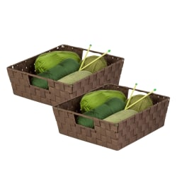 """Honey-Can-Do Woven Shelf Trays, 5""""H x 15""""W x 13""""D, Java/Chocolate, Pack Of 2"""