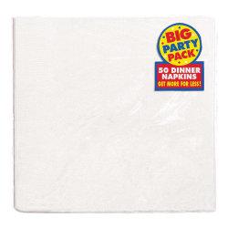 "Amscan 2-Ply Paper Dinner Napkins, 7-3/4"" x 7-3/4"", Frosty White, 50 Napkins Per Pack, Set Of 2 Packs"
