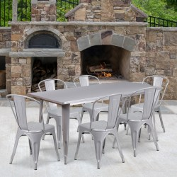 """Flash Furniture Commercial-Grade Rectangular Metal Table Set With 6 Stack Chairs, 29-1/2""""H x 31-1/2""""W x 63""""D, Silver"""