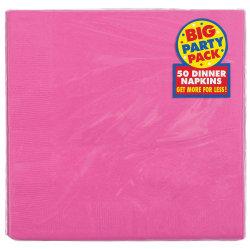 "Amscan 2-Ply Paper Dinner Napkins, 7-3/4"" x 7-3/4"", Bright Pink, 50 Napkins Per Pack, Set Of 2 Packs"