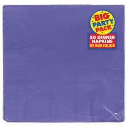 "Amscan 2-Ply Paper Dinner Napkins, 7-3/4"" x 7-3/4"", Purple, 50 Napkins Per Pack, Set Of 2 Packs"