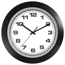 "Realspace® Round Quartz Analog Wall Clock, 10"", Black"
