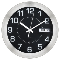 "Realspace® Round Wall Clock, 11"", Brushed Silver"