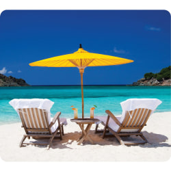 """Fellowes Recycled Mouse Pad - Caribbean Beach - Caribbean Beach - 8"""" x 9"""" x 0.06"""" Dimension - Multicolor - Rubber Base - Slip Resistant, Scratch Resistant, Skid Proof"""