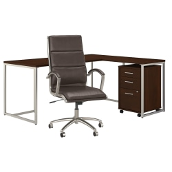 """kathy ireland® Office by Bush Business Furniture Method 72""""W L-Shaped Desk With Mobile File Cabinet And High-Back Office Chair, Century Walnut, Premium Installation"""
