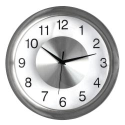 """Realspace® Round Quartz Analog Wall Clock, 12"""", Silver"""