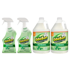 OdoBan Odor Eliminator Disinfectant, Original Eucalyptus Scent, Case Of 2 Spray Bottles And 2 Gallons Concentrate