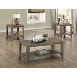 Monarch Specialties 3-Piece Coffee Table Set With Shelves, Rectangle, Dark Taupe