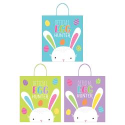 """Amscan Easter Egg Hunt Plastic Bags, 16"""" x 14"""" x 4"""", Multicolor, 3 Bags Per Pack, Set Of 4 Packs"""