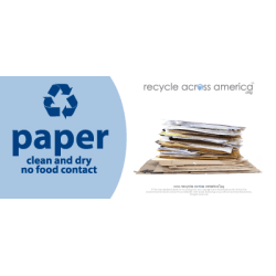 "Recycle Across America Paper Standardized Recycling Labels, P-0409, 4"" x 9"", Light Blue"