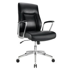 Realspace® Modern Comfort Delagio Bonded Leather Mid-Back Manager's Chair, Black/Silver