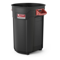 """Suncast Commercial Round Resin Utility Trash Can, 44 Gallons, 32""""H x 28-7/16""""W x 24""""D, Gray"""
